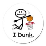 Basketball Stick Figure Round Car Magnet
