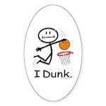 Basketball Stick Figure Sticker (Oval 50 pk)