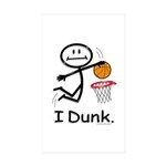 Basketball Stick Figure Sticker (Rectangle 10 pk)
