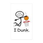 Basketball Stick Figure Sticker (Rectangle 50 pk)