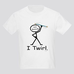 Baton Twirler Stick Figure Kids Light T-Shirt