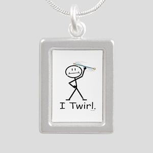 Baton Twirler Stick Figu Silver Portrait Necklace