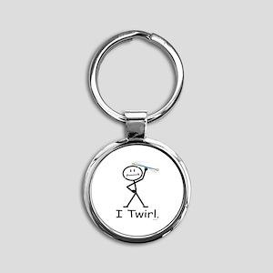 Baton Twirler Stick Figure Round Keychain