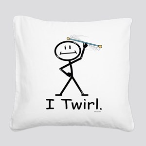 Baton Twirler Stick Figure Square Canvas Pillow