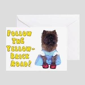 Cairn Terrier Oz Yellow Brick Road Greeting Card