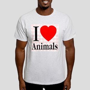 I Love Animals Ash Grey T-Shirt