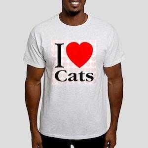 I Love Cats Ash Grey T-Shirt