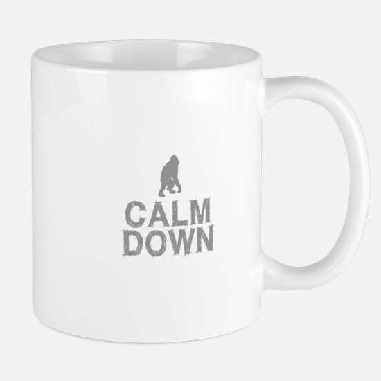 Calm Down. Grey Monkey Design Mugs