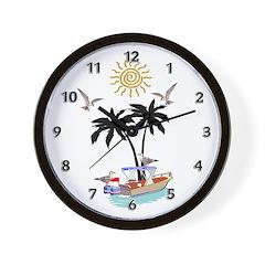 Boat To Paradise Wall Clock