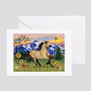 Mt. Country Buckskin Horse Greeting Cards (Package