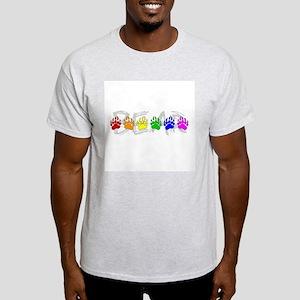 Rainbow Bear Tracks Ash Grey T-Shirt