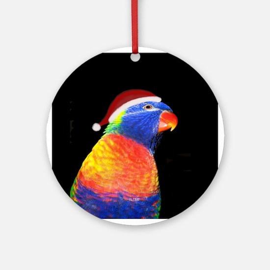 Rainbow Lorikeet Santa Hat Christmas Ornament