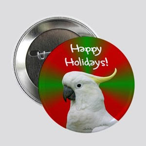 Cockatoo Happy Holidays Christmas Button