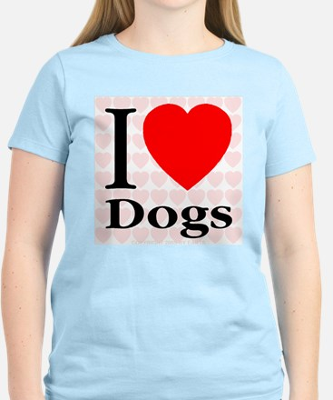 I Love Dogs Women's Pink T-Shirt