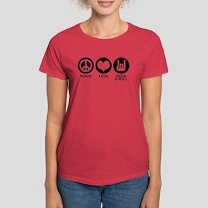 Peace Love Rock and Roll Women's Dark T-Shirt