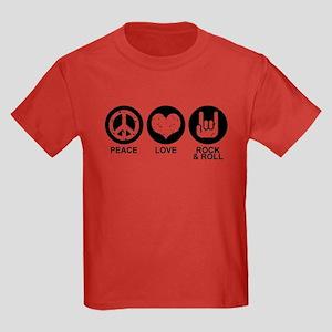 Peace Love Rock and Roll Kids Dark T-Shirt