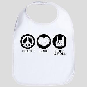 Peace Love Rock and Roll Bib