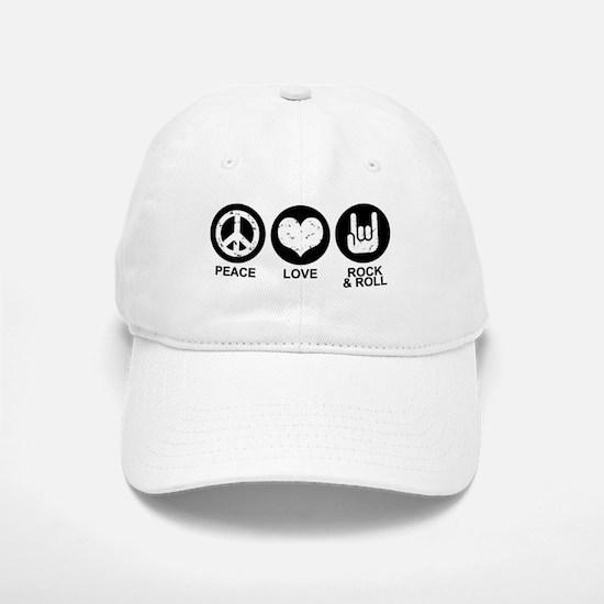 Peace Love Rock and Roll Baseball Baseball Cap