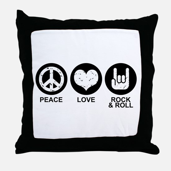 Peace Love Rock and Roll Throw Pillow