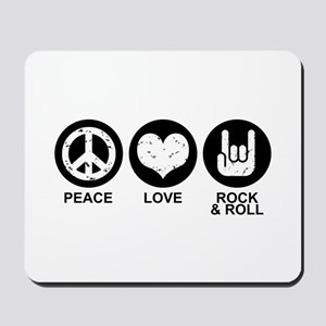 Peace Love Rock and Roll Mousepad