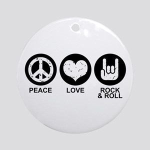 Peace Love Rock and Roll Ornament (Round)
