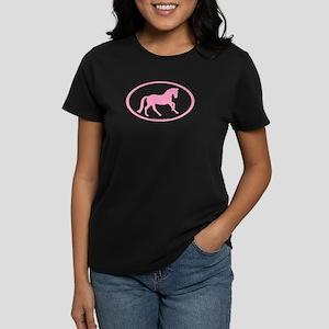 Pink Canter Horse Oval Women's Dark T-Shirt