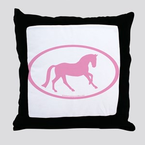 Pink Canter Horse Oval Throw Pillow