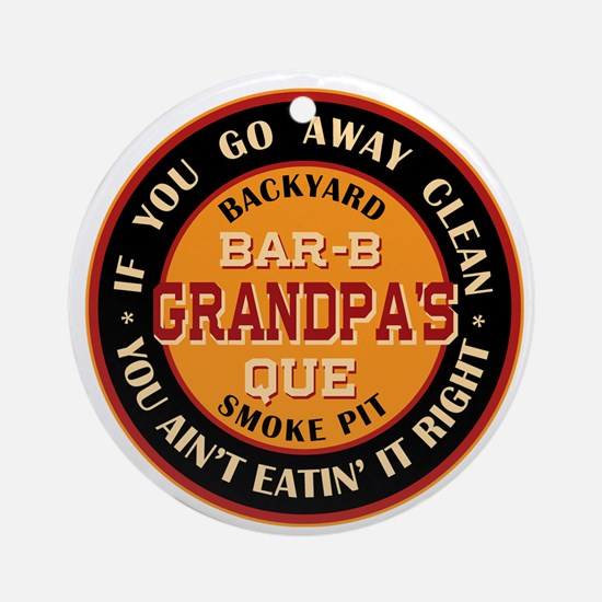 Grandpa's Backyard Bar-b-que Pit Ornament (Round)