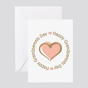 Happy Grandparents Day Pink Heart Greeting Card