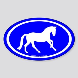 Canter Horse Oval (wh/blue) Oval Sticker