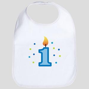 First Birthday - Candle (Boy) Bib