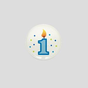 First Birthday - Candle (Boy) Mini Button