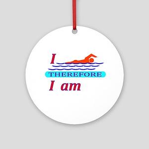 i swim therefore i am Ornament (Round)