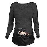Baby peeking out Dark Long Sleeve Maternity T-Shirt