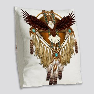 Bald Eagle Mandala Burlap Throw Pillow