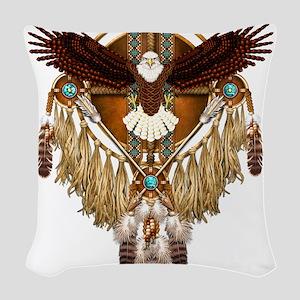Bald Eagle Mandala Woven Throw Pillow