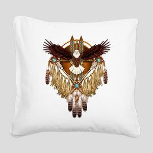 Bald Eagle Mandala Square Canvas Pillow