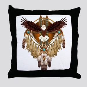 Bald Eagle Mandala Throw Pillow