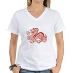 Red Dragon Women's V-Neck T-Shirt