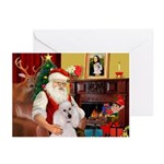 Santa's Poodle (ST-W/C) Greeting Cards (Pk of 10)