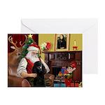 Santa's Black Poodle (ST-P) Greeting Cards (Pk of