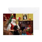 Santa's Black Poodle (ST) Greeting Card