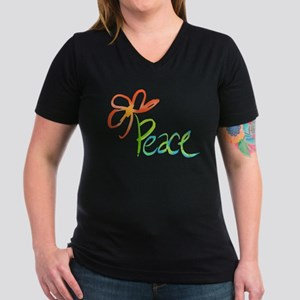 Grow Peace Women's V-Neck Dark T-Shirt