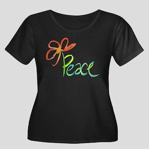Grow Peace Women's Plus Size Scoop Neck Dark T-Shi