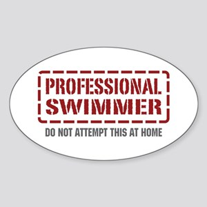 Professional Swimmer Oval Sticker