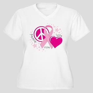 BC Peace Love Cure Women's Plus Size V-Neck T-Shir