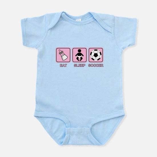 EAT SLEEP SOCCER (baby pink) Infant Bodysuit