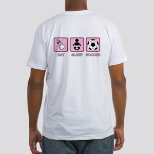 EAT SLEEP SOCCER (baby pink) Fitted T-Shirt