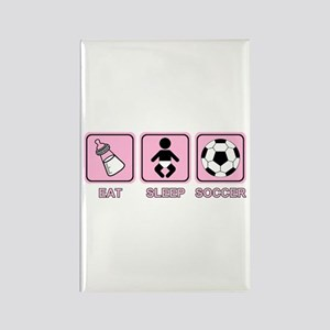 EAT SLEEP SOCCER (baby pink) Rectangle Magnet