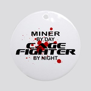 Miner Cage Fighter by Night Ornament (Round)